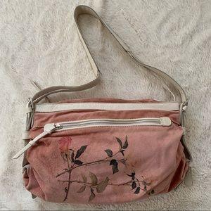Francesco Biasia pink suede crossbody bag